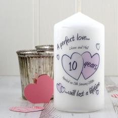 Hampers and Gifts to the UK - Send the Personalised A Perfect Love Any Year Anniversary Candle