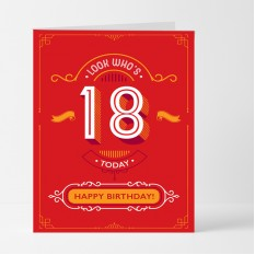 Hampers and Gifts to the UK - Send the Look Who's 18 Birthday Card