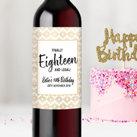 Hampers and Gifts to the UK - Send the  Personalised Finally Eighteen! 18th Birthday Wine Bottle Gift