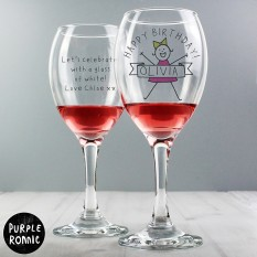 Hampers and Gifts to the UK - Send the Personalised Purple Ronnie For Her Celebration Wine Glass