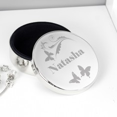 Hampers and Gifts to the UK - Send the Personalised Butterfly Swirl Round Trinket