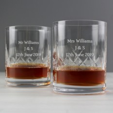 Hampers and Gifts to the UK - Send the Personalised Cut Crystal Whisky Tumblers