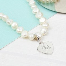 Hampers and Gifts to the UK - Send the White Pearl Necklace With Engraved Heart Charm