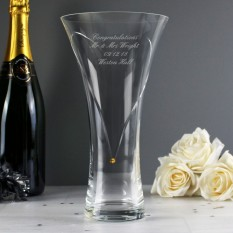 Hampers and Gifts to the UK - Send the Personalised Large Infinity Vase with Gold Swarovski Elements