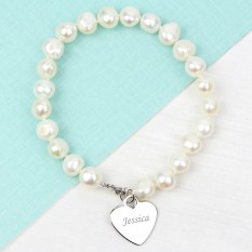 Hampers and Gifts to the UK - Send the White Pearl Bracelet With Engraved Heart Charm