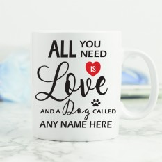 Hampers and Gifts to the UK - Send the All You Need is Love and a Dog Mug