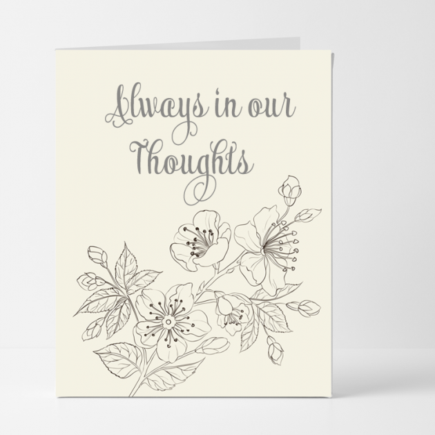 Hampers and Gifts to the UK - Send the Always in Our Thoughts Sympathy Card