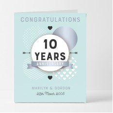 Hampers and Gifts to the UK - Send the Personalised Congratulations 10th Anniversary Card