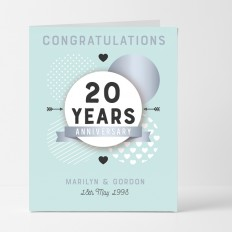 Hampers and Gifts to the UK - Send the Personalised Congratulations 20th Anniversary Card