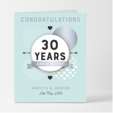 Hampers and Gifts to the UK - Send the Personalised Congratulations 30th Anniversary Card