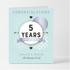 Hampers and Gifts to the UK - Send the Personalised Congratulations 5th Anniversary Card
