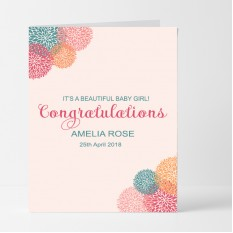 Hampers and Gifts to the UK - Send the Personalised Beautiful Baby Girl Card