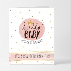 Hampers and Gifts to the UK - Send the Baby Girl Welcome to the World Card