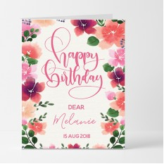 Hampers and Gifts to the UK - Send the Personalised Pink Floral Birthday Card