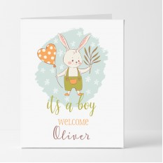 Hampers and Gifts to the UK - Send the Personalised Bunny It's a Boy Card