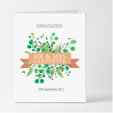 Hampers and Gifts to the UK - Send the Personalised Congratulations Banner Wedding Card
