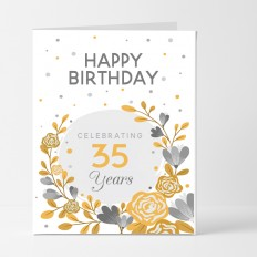 Hampers and Gifts to the UK - Send the Personalised Gold Celebration Birthday Card