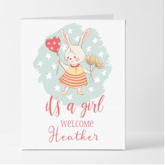 Hampers and Gifts to the UK - Send the Personalised Bunny It's a Girl Card
