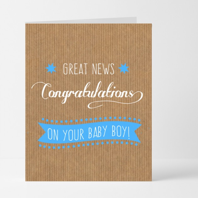 Hampers and Gifts to the UK - Send the Great News Baby Boy Card