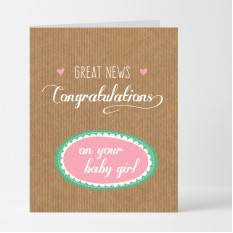 Hampers and Gifts to the UK - Send the Great News Baby Girl Card
