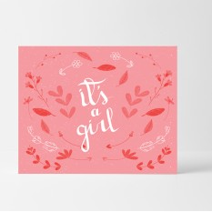 Hampers and Gifts to the UK - Send the Pink Hearts It's a Girl Card