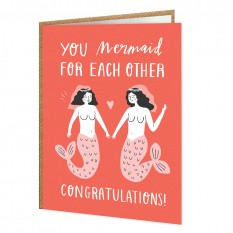 Hampers and Gifts to the UK - Send the You Mermaid For Each Other  Wedding Card
