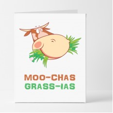 Hampers and Gifts to the UK - Send the Moo-Chas Grass-ias Thank You Card