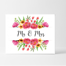 Hampers and Gifts to the UK - Send the Floral Mr and Mrs Wedding Card