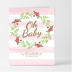 Hampers and Gifts to the UK - Send the Personalised Floral Stripes Baby Girl Card