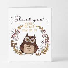 Hampers and Gifts to the UK - Send the Charming Owl Thank You Card