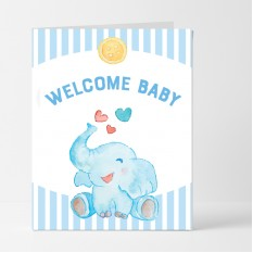 Hampers and Gifts to the UK - Send the Welcome Baby Cute Elephant Card