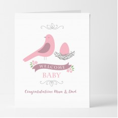 Hampers and Gifts to the UK - Send the Personalised Birdy Welcome Baby Girl Card