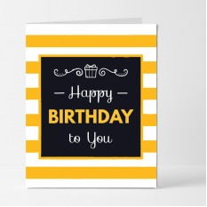 Hampers and Gifts to the UK - Send the Yellow Striped Birthday Card