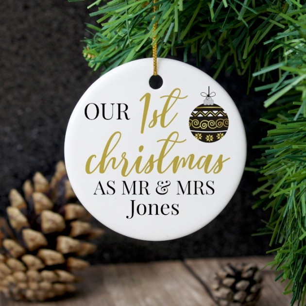 Hampers and Gifts to the UK - Send the Personalised First Christmas Mr and Mrs Decoration