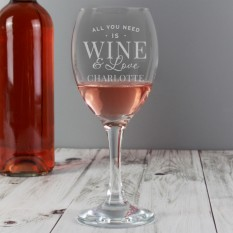 Hampers and Gifts to the UK - Send the Personalised 'All You Need is Wine' Wine Glass