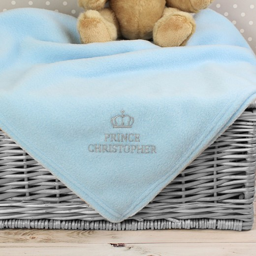 Hampers and Gifts to the UK - Send the Personalised Prince Baby Blanket in Blue