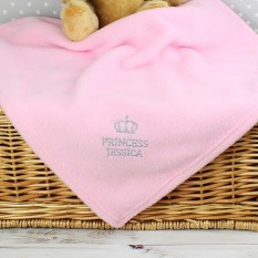 Hampers and Gifts to the UK - Send the Personalised Princess Baby Blanket in Pink