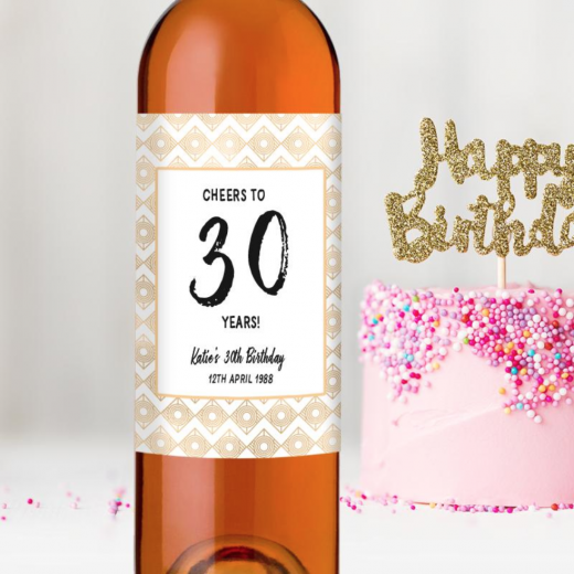 Hampers and Gifts to the UK - Send the  Personalised Cheers! 30th Birthday Wine Bottle Gift