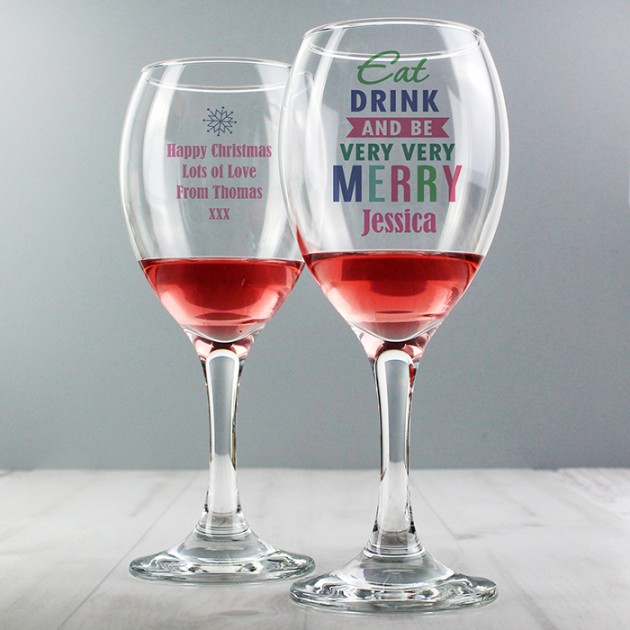 Hampers and Gifts to the UK - Send the Personalised Eat Drink & Be Merry Wine Glass