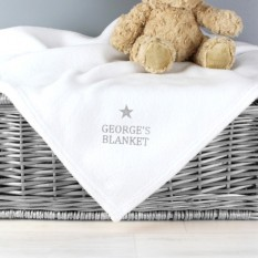 Hampers and Gifts to the UK - Send the Personalised Baby Silver Star Blanket - White
