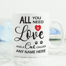 Hampers and Gifts to the UK - Send the All You Need is Love and a Cat Mug