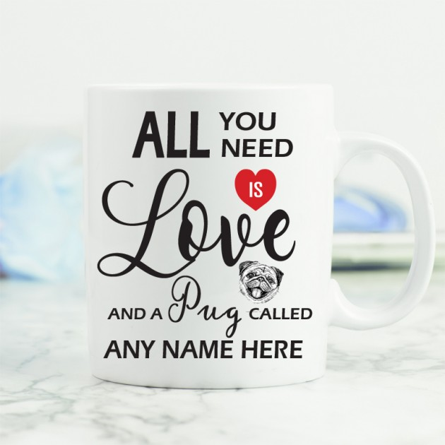 Hampers and Gifts to the UK - Send the All You Need is Love and a Pug Mug
