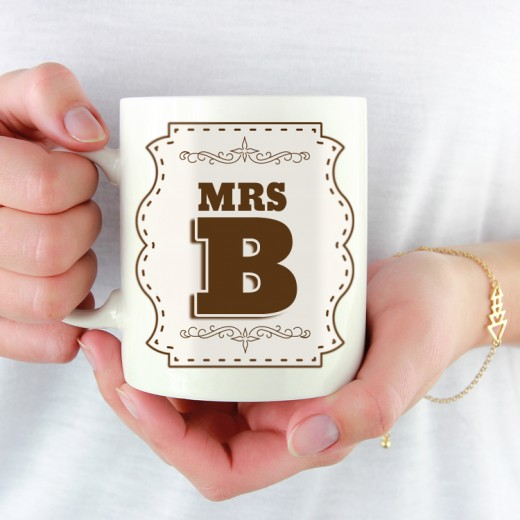 Hampers and Gifts to the UK - Send the Initial Letter Mug - Mrs