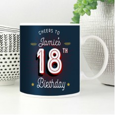 Hampers and Gifts to the UK - Send the Personalised Cheers 18th Birthday Mug