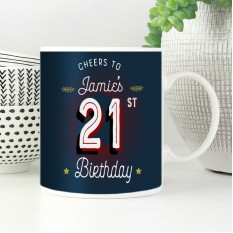Hampers and Gifts to the UK - Send the Personalised Cheers 21st Birthday Mug
