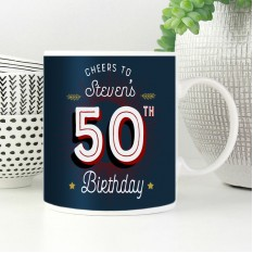 Hampers and Gifts to the UK - Send the Personalised Cheers 50th Birthday Mug