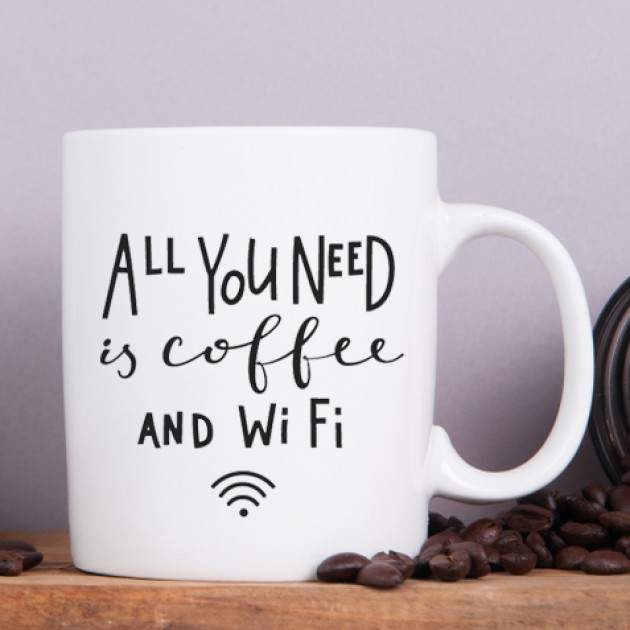 Hampers and Gifts to the UK - Send the All You Need is Coffee and Wifi Mug