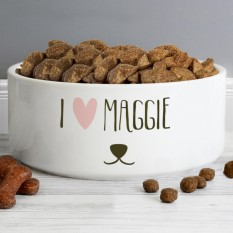 Hampers and Gifts to the UK - Send the Personalised Dog Bowl - I Love Puppy