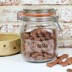Hampers and Gifts to the UK - Send the Personalised Retro Dog Treats Jar