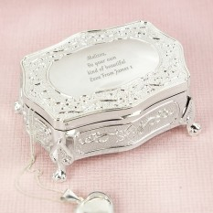 Hampers and Gifts to the UK - Send the Engraved Any Message Antique Trinket Box